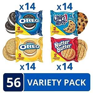 OREO Original, OREO Golden, CHIPS AHOY! & Nutter Butter Cookie Snacks Variety Pack, 56 Snack Packs