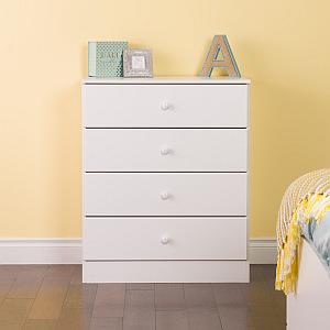 Prepac WDBR-0401-1 Astrid 4-Drawer Dresser, White