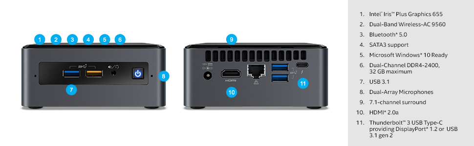 Intel NUC 8 Mainstream Kit (NUC8i3BEH) - Core i3, Tall, Add't Components  Needed