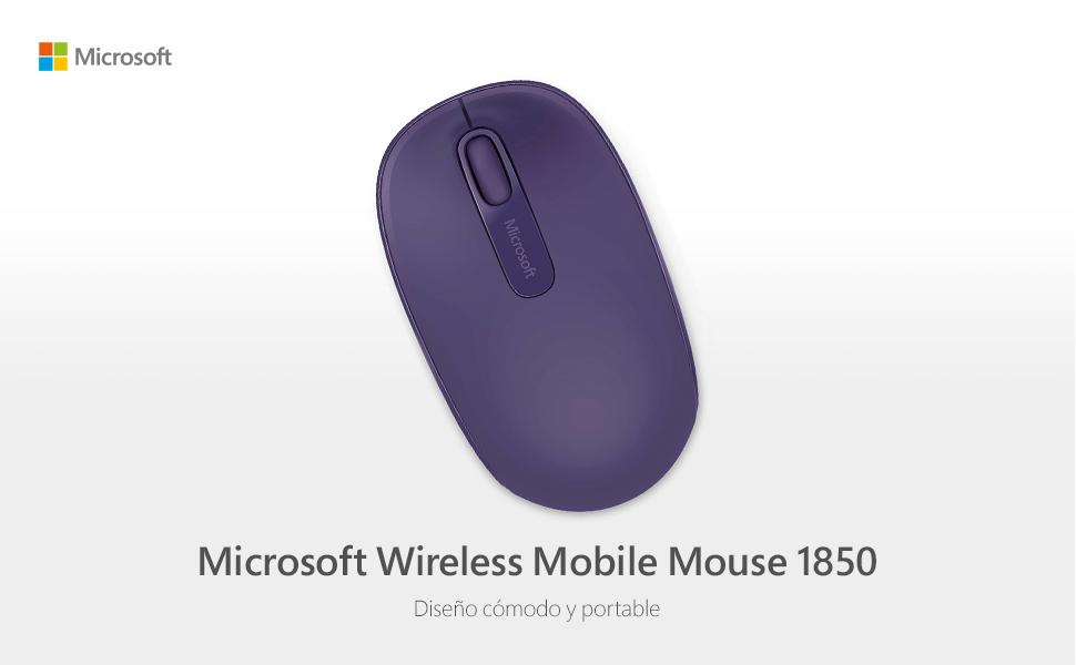 Microsoft Wireless Mobile Mouse 1850 - Ratón inalámbrico, Compatible con Windows 7/8, Color Morado