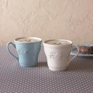 ブルーとホワイトのマグカップ