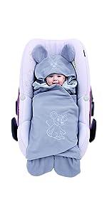 Baby Einschlagdecke Sommer; außen Fleece, innen 100% Baumwolle; Für Babyschale, Autokindersitz, z.B.