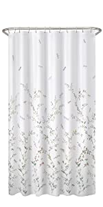 Sylvia Printed Faux Silk Fabric Shower Curtain Dragonfly Garden Semi Sheer Cherrywood Satori