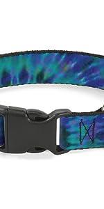 Tie Dye Die Plastic Collar Dog Pet Plastic Buckle Blue Purple Hippie Vintage Peace