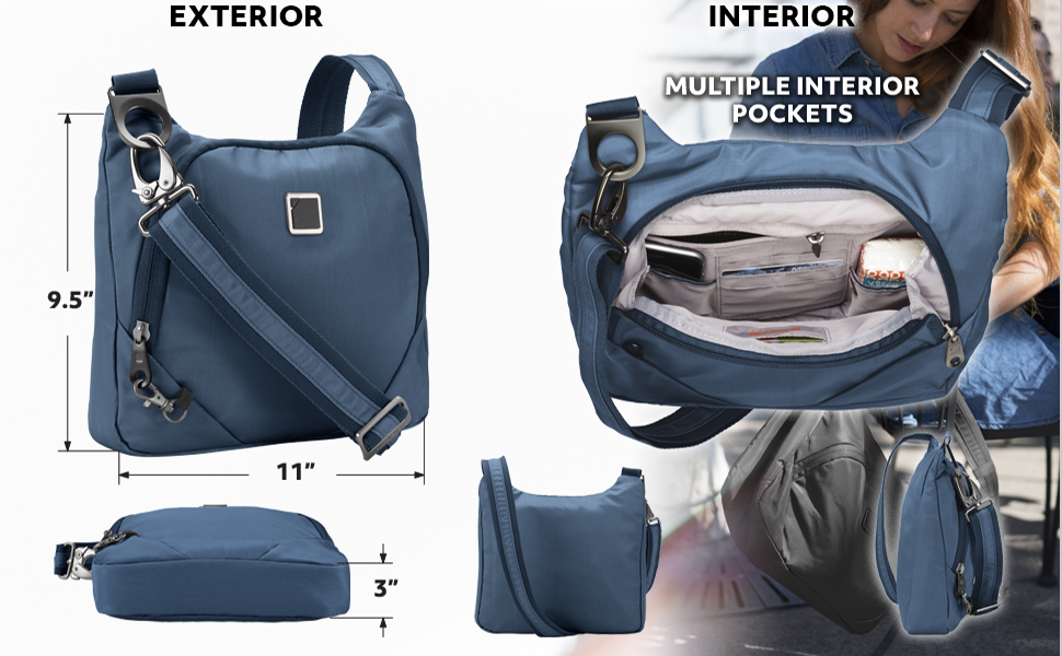 travelon ebag anittheft bag classic sling side over shoulder bag theft resistant bagini rfid wallet