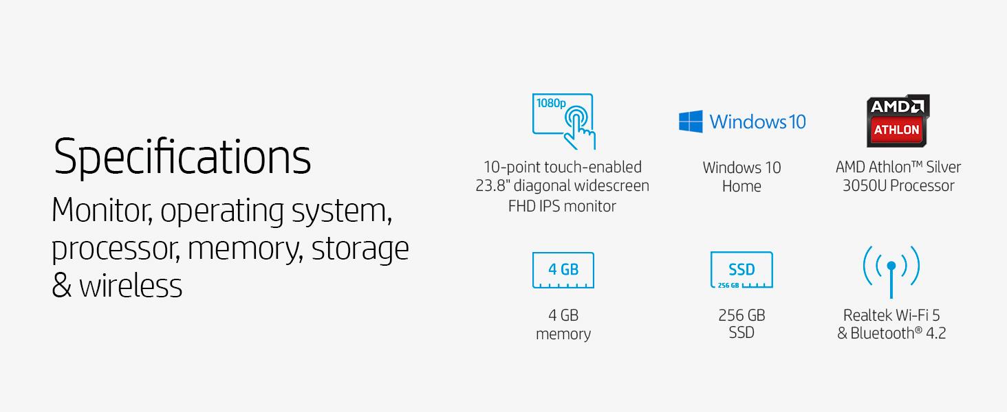 Specifications Silver 3050U Processor memory SSD bluetooth Realtek Wi-Fi 5 IPS