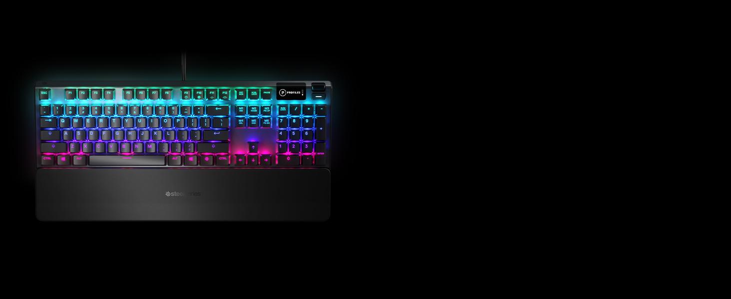 - SteelSeries Apex 5 keyboard with wrist rest