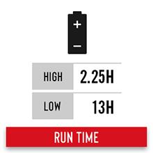 13 hour run time on high alkaline battery