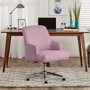 Amazon Com Serta Leighton Home Office Memory Foam Height Adjustable Desk Accent Chair With Chrome Finished Stainless Steel Base Twill Fabric Fresh Lilac Furniture Decor