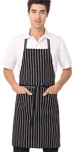 Chef Works Bib Apron, Black/White Chalk Stripe