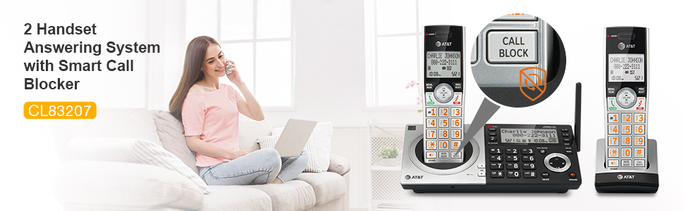 panasonic AT&T CL83207 2 handset answering system with caller ID announce big button