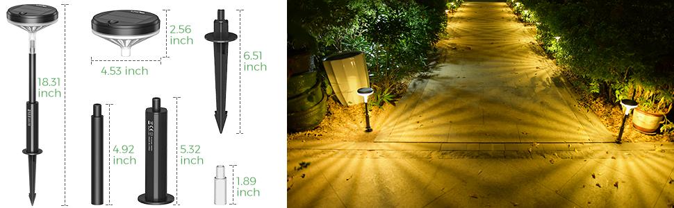 Solar powered garden walkway lights