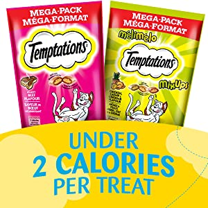 Under 2 Calories per treat, Nutritionally complete for adult cats, Perfect for snack time