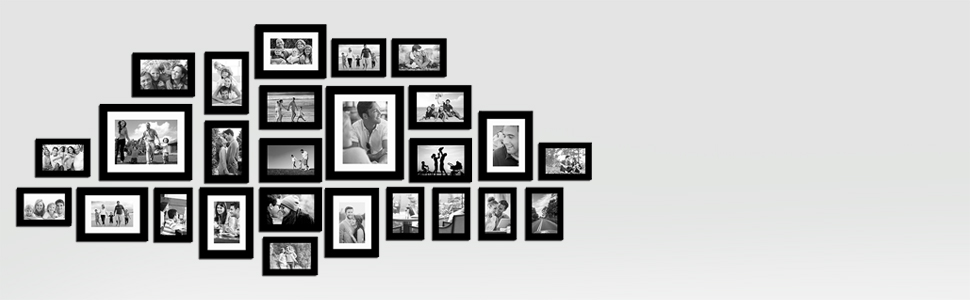 23 pieces photo frame set black color, large photo frame set by painting mantra