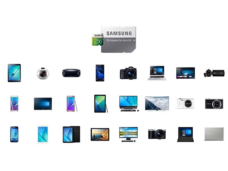 Samsung MicroSDXC EVO Select Memory Card with multiple compatible devices