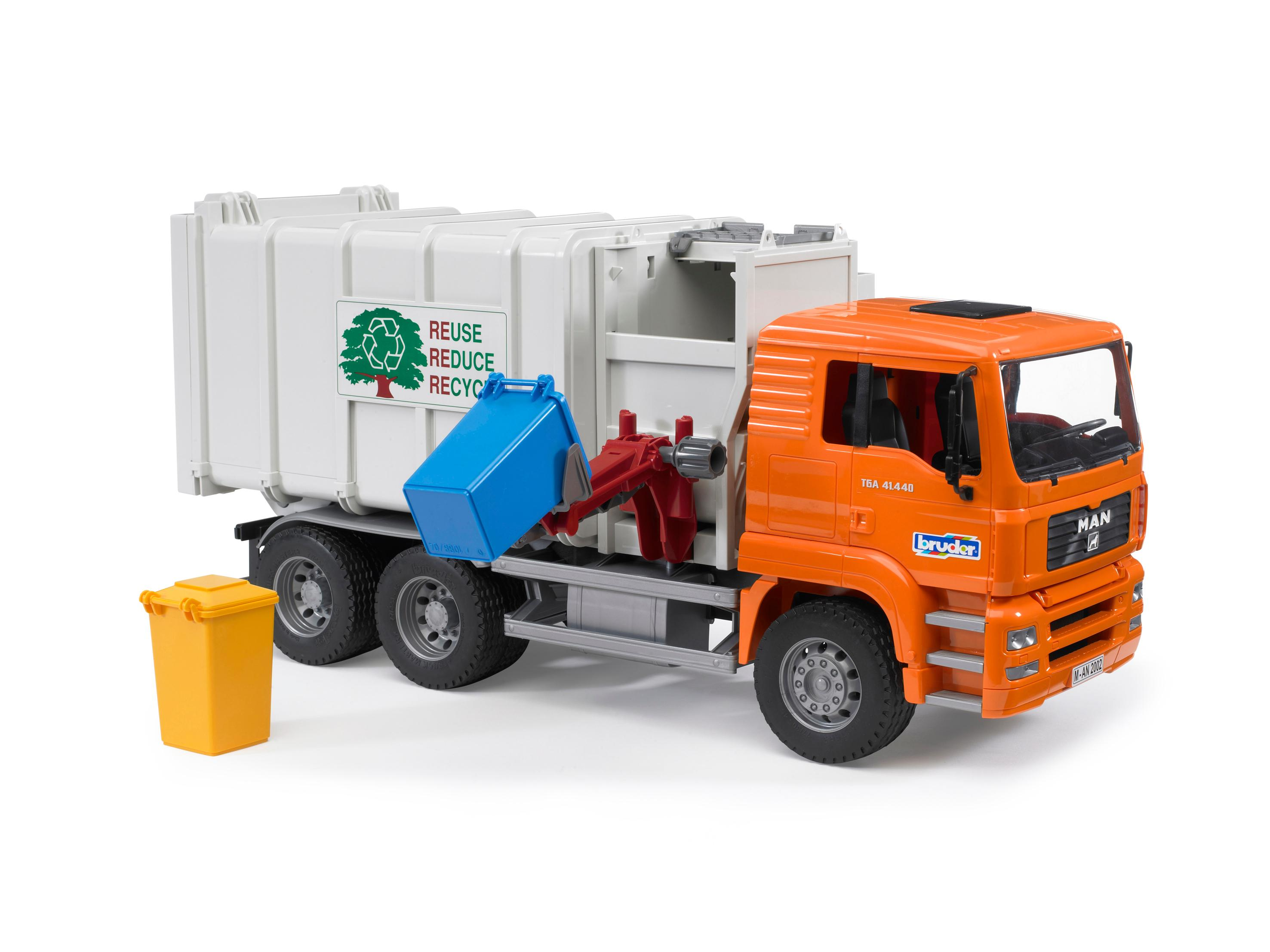 bruder 02761 camion benne man orange avec 2 poubelles jeux et jouets. Black Bedroom Furniture Sets. Home Design Ideas