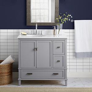 Amazon Com Dorel Living Otum 36 Bathroom Vanity Dark Walnut Furniture Decor