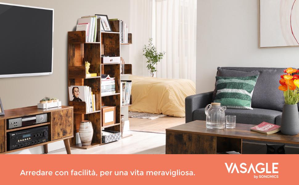Scaffale con 8 Scomparti VASAGLE Libreria a Forma di Albero 50 x 25 x 140 cm con Angoli Arrotondati Marrone Vintage LBC66BXV1