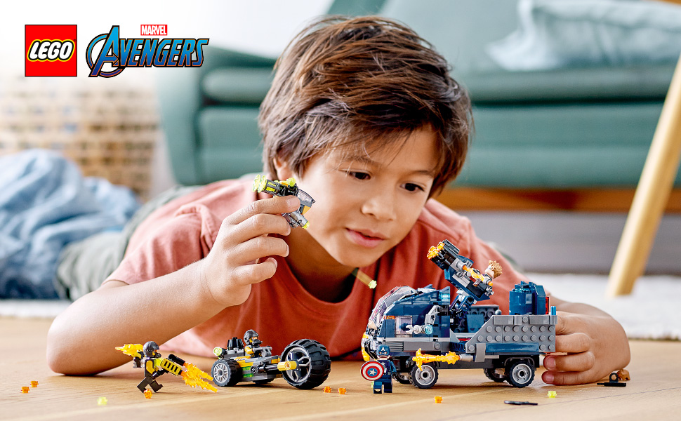 Lego Avengers Truck Takedown - Boy playing with the toy set