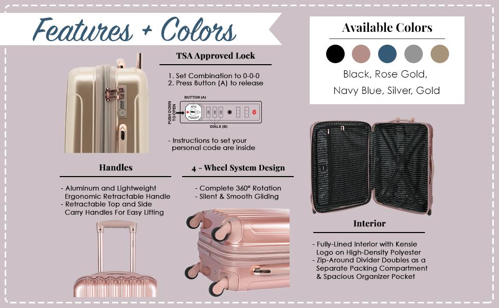 alma collection, interior, TSA Lock, colors, 3 piece set, fashion, travel, spinner wheels, luggage