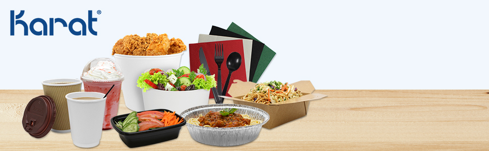 Karat cups,lids and straws,utensils,take-out food containers,portion cup,salad bowl,shopping bags