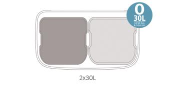 Poubelle à pédale Bo, avec 2 seaux intérieurs, 2 x 30L - Blanc
