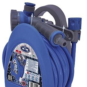 """S&M Kit de Manguera de jardín 3/8"""" de 10 Metros con Accesorios (Pistola de riego, racores) y Soporte, Azul, 14 x 17 x 27, 5 cm: Amazon.es: Jardín"""