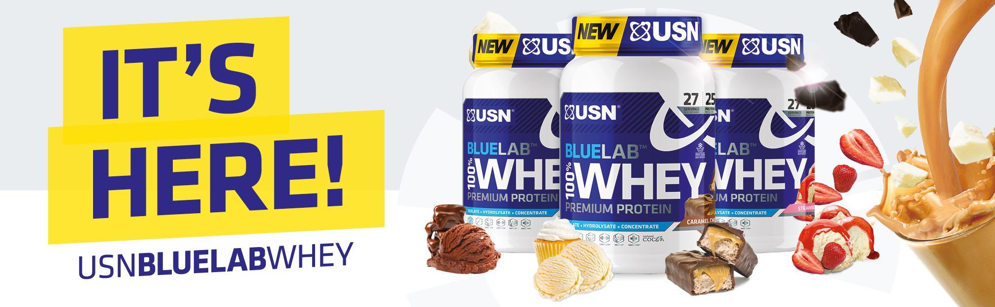 USN Blue Lab 100% Whey Premium Protein Shake Powder, 2kg, Caramel Chocolate