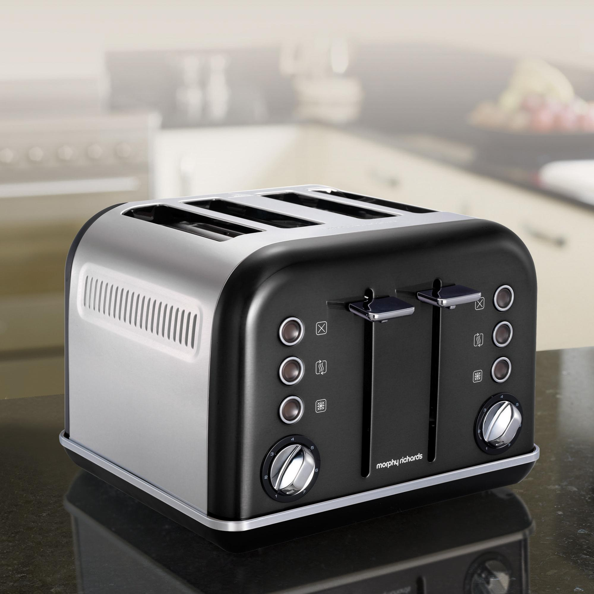 morphy richards 242018ee accents toaster 4 schlitz schwarz. Black Bedroom Furniture Sets. Home Design Ideas