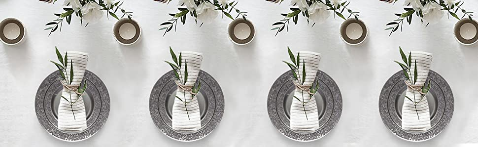 Party Joy Plastic Plates Lace Grey Collection