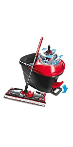 Vileda Ultramax Flat Mop And Bucket Set Red Multi Colour