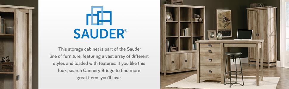 Sauder Cannery Bridge Storage Cabinet in a Lintel Oak finish