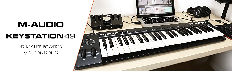 49-Key USB MIDI Keyboard Controller with Pitch-Bend & Modulation Wheels