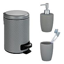 Deze aantrekkelijke driedelige set van de badkamerserie Punto Grey is gemaakt van hoogwaardig keramiek.