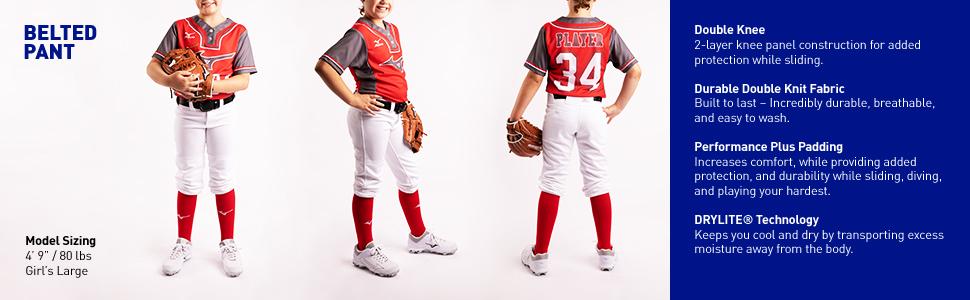 Girls Belted Softball Pants