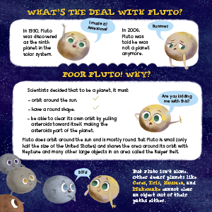 pluto planet space dwarf solar system discovery picture book comets asteroids meteoroids science