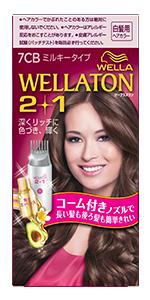 """「Wellaton ウエラトーンツープラスワンミルキーEX」のパッケージ。 色はピンク。美しい髪色の外国人女性が微笑んでいる。"""