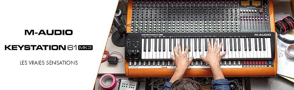 Clavier maître MIDI 61 touches semi-lestées compact, alimenté par USB avec commandes paramétrables