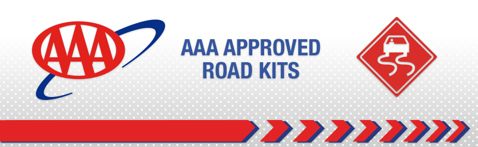 roadside kit, aaa approved, safety, booster cables, emergency triangle
