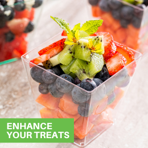These square dessert cups are perfect for serving mini appetizers or desserts at events.