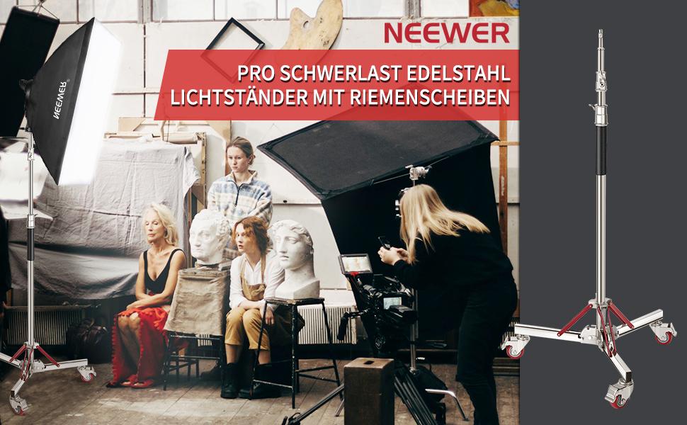 Neewer Pro 100 Edelstahl Lichtstativ Mit Rollen Kamera