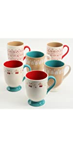 General Store by Gibson Gibson Home 102389.06RM General Store Cottage Chic 14 oz Mug Set of 6 Blue Set Hand Painted Durastone