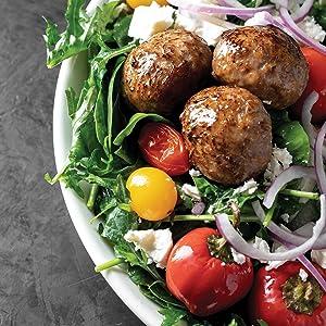 meatballs, salad, greek salad, vegetables, leftovers, recipes, cookbook, sam the cooking guy