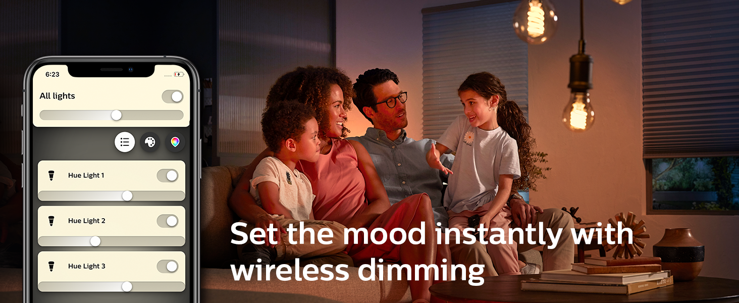 Philips Hue Set the mood instantly with wireless dimming