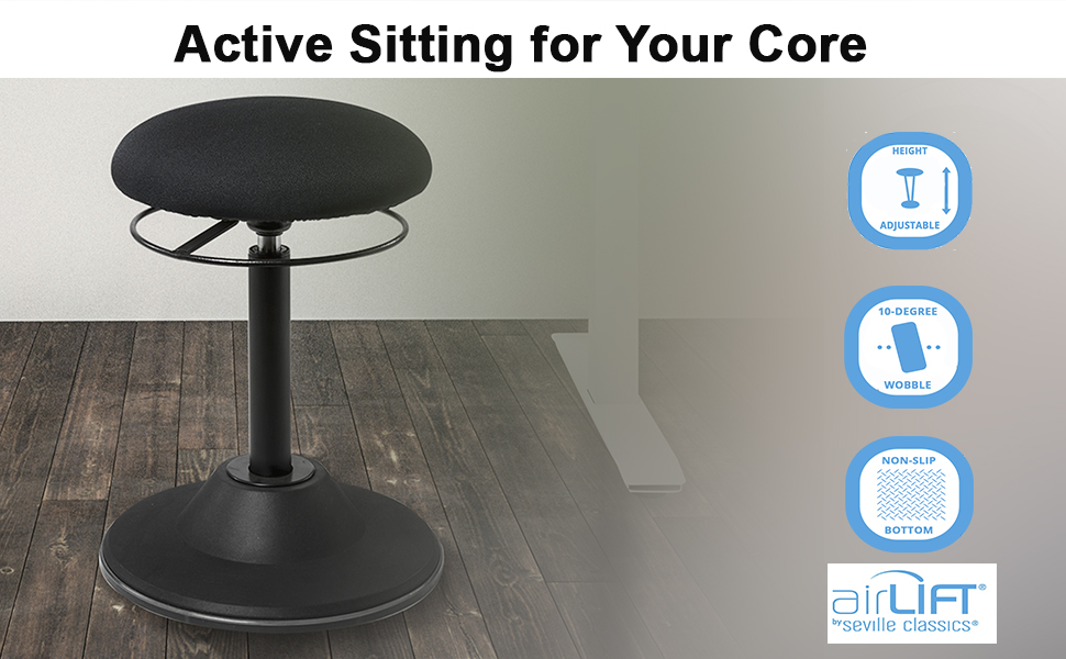 Hero Image Displaying airlift sit stand 360 ergonomic wobble standing desk chair