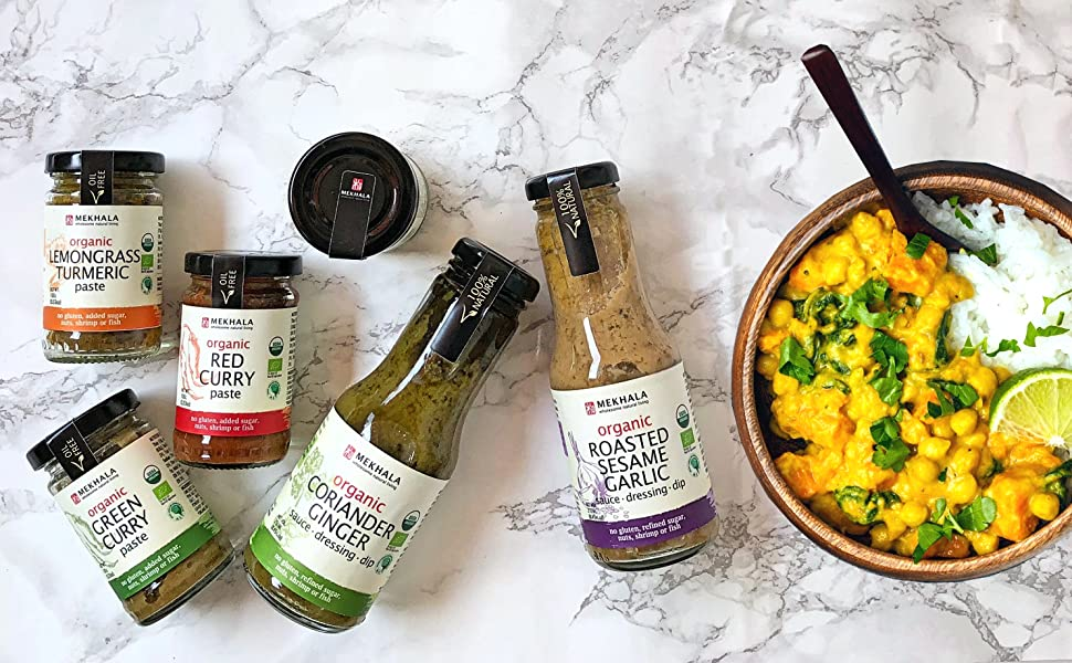 organic vegan curry and cooking sauces