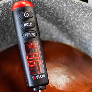 thermometer; food; probe; meat; poultry; cooking; digital; LED; bright; easy read;