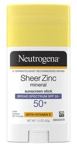 Neutrogena Sheer Zinc Oxide Dry Touch Mineral Sunscreen Stick with Broad Spectrum