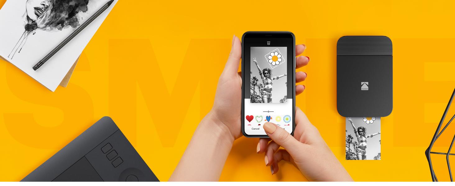 Kodak Smile Printer smartphone app stickers emojis