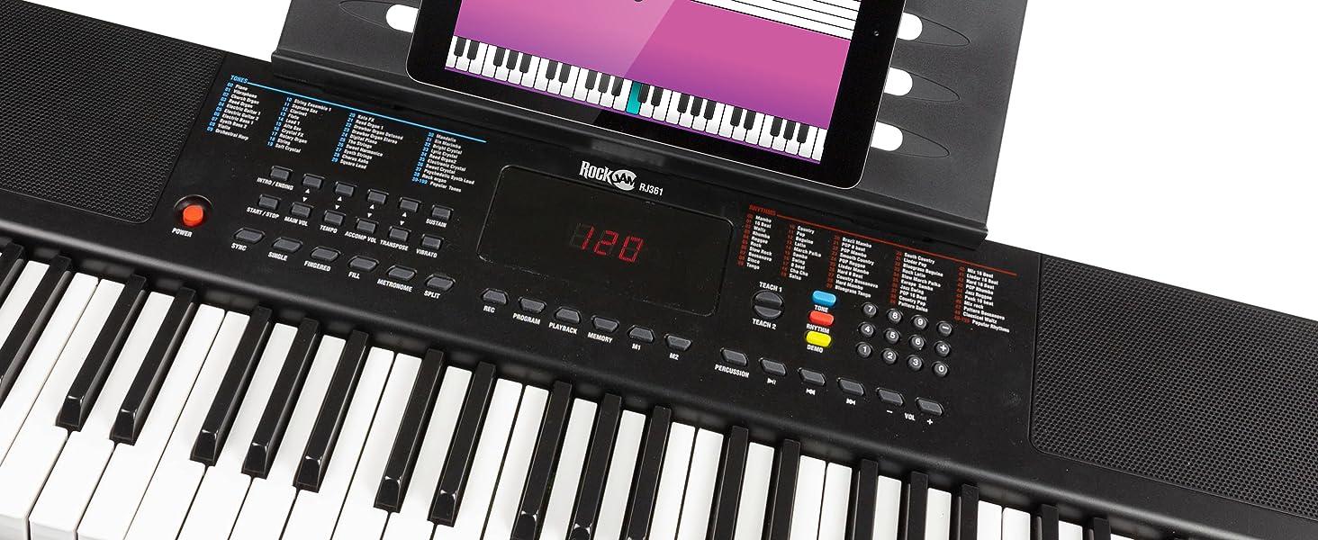Teclado RockJam compacto de 61 teclas con soporte para partituras, fuente de alimentación, pegatinas para notas de piano y lecciones de piano simples